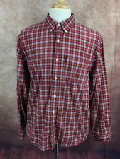 Abercrombie & Fitch Oxford Button Down Long Sleeve Red Check Shirt Men's L