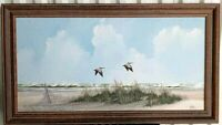 "Vintage Oil on Canvas Florida Seascape, Signed, 19"" x 33.5""."