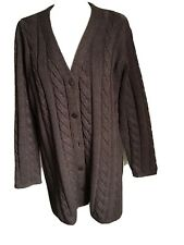 Jaeger Brown Cable Knit Cardigan Size L UK 18-20