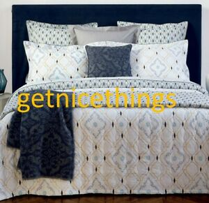 Yves Delorme Maiolica Queen Fitted Sheet Geometric Blue White Cotton Percale NEW