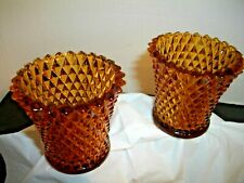 2 Vintage Amber Diamond Point Glass Peg Candle Votive Cup by Home Interior