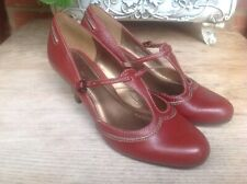 CLARKS DARK RUST REAL LEATHER STRAPPY T-BAR COURT SHOES SIZE UK 6