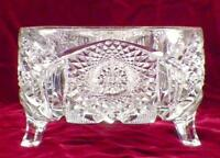 Imperial Glass #587 Fern Bowl Footed Nucut Fernery Clear EAPG 1915 Antique
