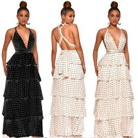 Women V Neck Halter Backless Polka Dot Party Tiered Ruffled Cocktail Maxi Dress