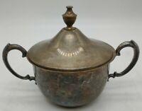 Vintage Sheridan Sugar Bowl Dish w Lid Silver on Copper Silverplate