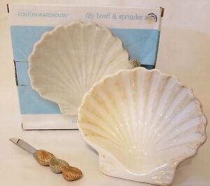 Seafare Sea Shell Dip Bowl & Spreader Set Boston Warehouse Nautical Serving Bowl