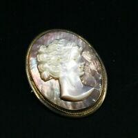 Antique Vintage Carved Abalone Shell Cameo 800 Silver Pendant Brooch Estate Pin