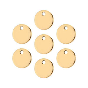 50pcs Gold/Silver Stainless Steel Circle Stamping Pendants Round Blank Charms