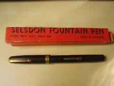 Stylo plume à levier ébonite SELSDON années 40 plume or 14c NEUF STOCK !