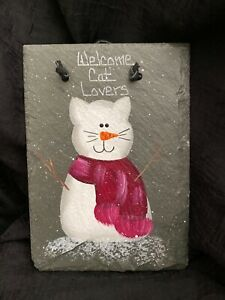 """'Welcome Cat Lovers' 5x7"""" Slate Sign, Snowman Cat Red Scarf, Hand-Painted Winter"""