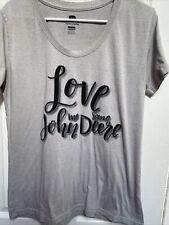 Shirt John Deere Gray V-Neck Women Gray Large