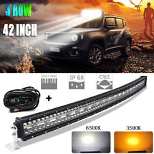 42Inch AMBER WHITE CURVED 3260W LED LIGHT BAR COMBO SPOT FLOOD OFF ROAD JEEP 44""