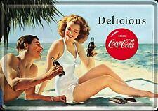 Coca Cola Delicious metal postcard / mini-sign   (na)