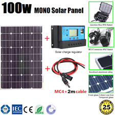 100W 12V MONO SOLAR PANEL KIT INCL. SOLAR CHARGE REGULATOR AND PAIR MC4 2m CABLE
