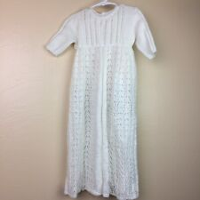 Vintage Christening Gown Dress Handmade Creamy White Crochet Newborn & Up Baby