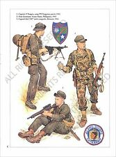 PLANCHE UNIFORM PRINT WWII US Army Compagnie Rangers Pangasinan Philippines 1945