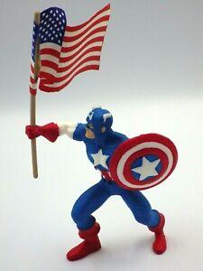Figurine Vintage Captain America Marvel YOLANDA 1990 Marvel 10cm Flag Rare