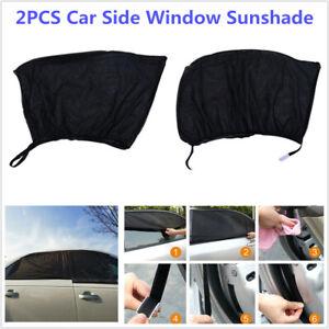 2PCS Car SUV Side Window Mesh Cover Shield Sun Visor Sunshade UV Protector Black