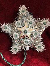 Star 11 Light Christmas Tree Top Silver W White lights Mint 6�