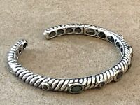 HSN Sterling Silver cable style cuff bracelet adorned with onyx 6.5""