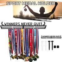 40cm Metal Sports Medal Hanger Holder Display Rack Winners Never Quit Black