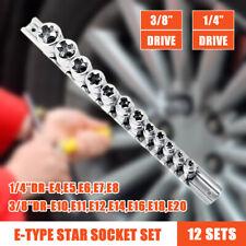 "12pc E TORX SOCKET SET E4 to E20 3/8"" drive female torque star sockets"
