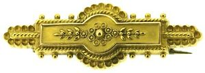 Antique Victorian 15Carat 15ct yellow gold Etruscan brooch pin c1895 Chester