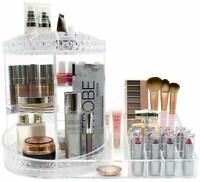 Makeup Organizer Station, 360° Rotating Adjustable Carousel w/Tray for Cosmetics