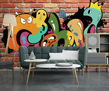 3D Cartoon Graffiti Retro Brick Wall Self-adhesive Bedroom Painting Wall Murals