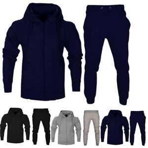 Mens Zip Up Fleece Tracksuit Hoodie Jogger Top + Bottom Sets Jogging Sweater