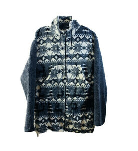 G4000 Vintage Patterened Fleece Oversized Coat Sweater Jacket Collared M Zip-up