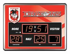 26403 ST GEORGE DRAGONS NRL SCOREBOARD CLOCK LED DATE TIME THERMOMETER SCORE