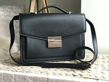 ZARA black faux leather medium handbag satchel shoulder bag