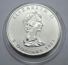 1989 Canada Maple Leaf Coin 1 oz Silver One Troy ounce .9999  5 Dollars