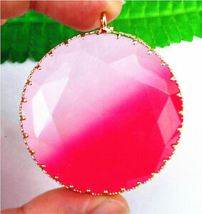 45x10mm Faceted Gold Wrapped Red Titanium Crystal Round Pendant Bead AP17853