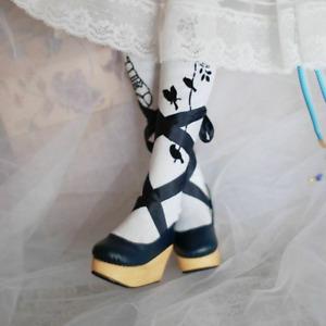 1/3SD10 BJD Doll Shoes Wood Sole High Heels Wedges Ribbon White/Black/Pink AOD