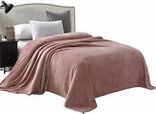 "90"" x 90""Luxury Queen Size Flannel Velvet Plush Solid Bed Blanket(Pink)"