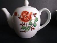 """Vintage 1978? Chinese Oriental Porcelain Floral  Design Tea Pot 7 3/4""""H x9 3/4W"""