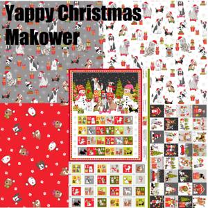 Makower Yappy Dog Christmas advent Calendar snowman FQ, 1/2m & panel free p&p