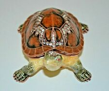 New ListingHand Decorated Hinged Enameled Metal Tortoise Trinket Box-Copper Tone Accents
