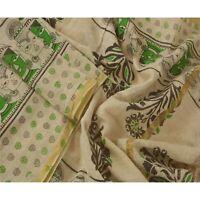 Sanskriti Vintage Dupatta Long Stole Cotton Cream Shawl Block Printed Hijab