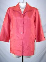 Requirements Coral Orange Long Sleeve Button Front Career Top Womens Size 16 XL