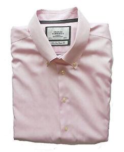 "Men's CHARLES TYRWHITT Premium NONE IRON Pink CLASSIC FIT Shirt 18"" 2-3XL *VGC*"