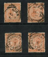 INDIA QV USED in ADEN VFU 4 stamps 1890 CENTRAL CANCELS
