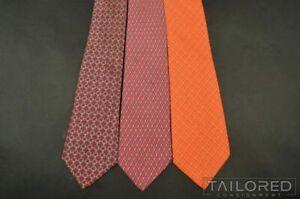 LOT of 3 - HERMES 5142 HA 7155 FA 59 EA Red Geometric Check Silk Luxury Ties