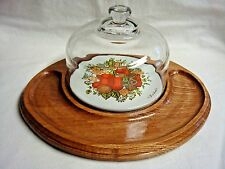VINTAGE Wood & Tile CHEESE SERVER & HEAVY GLASS DOME by GOODWOOD