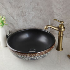 "16"" Round Bathroom Ceramic Vessel Sink Wash Basin Combo Brass Mixer Faucet Set"