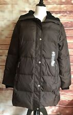 Michael Kors Size L jacket puff coat BROWN down feather filled SILVER zips NWT