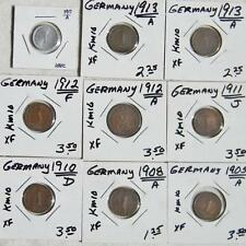 GERMANY, Empire-1875 to 1917 1 Pfennig & 2 Pfennig lot-16 coins total; VF to UNC