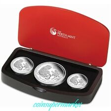 The Australia Lunar Series II 2016 Year of the Monkey Silver Proof 3-Coin Set !